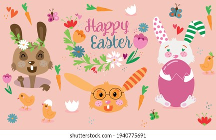 Happy Easter card - cute bunny, eggs, chicks and flowers elements, vector illustration