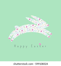 Happy Easter card with cute bunny on green background.