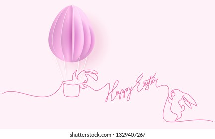 Happy Easter card. Cute hand drawn rabbits with air balloon shaped as eggs. Vector paper desing illustration. Continuous one line style.