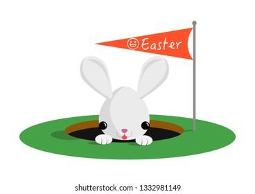 Happy Easter card - cute peeking white bunny