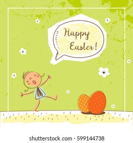 Happy easter card design, vector illustration. Seasonal holiday greeting, invitation. Kids with red eggs and speech balloon.