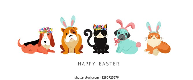 Happy Easter card, dogs and cats wearing bunny costumes, holding basket with eggs