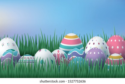 Happy Easter Card with Eggs, Grass, Flowers. Vector illustration