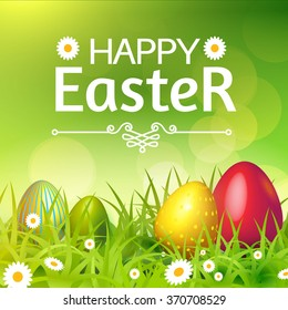 Happy Easter Card with Eggs, Grass, Flowers & Bokeh Effect. Vector illustration