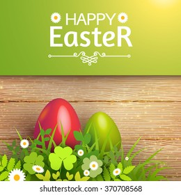 Happy Easter Card with Eggs, Grass, Flowers & Wood Texture. Vector illustration