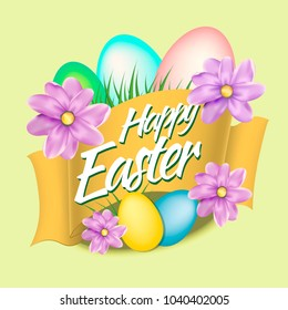 Happy Easter Card with Eggs on yelow background