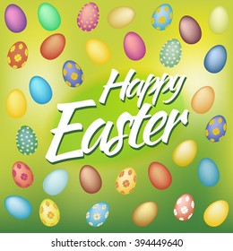 Happy Easter Card with Eggs on green background