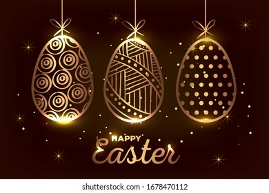 happy easter card golden with eggs decorated hanging vector illustration design
