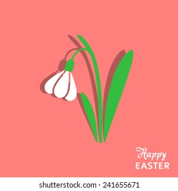 Happy easter card with green and white snowdrop
