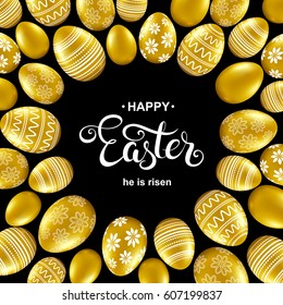 Happy easter card with handwritten calligraphy lettering, gold eggs pattern. Vector illustration.