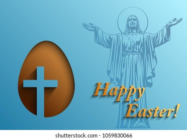 Happy Easter card with the image of Jesus Christ and the Christian cross, Easter background, Vector illustration