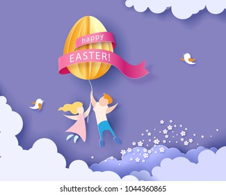Happy Easter card with kids, flowers and egg air balloon with blue sky background. Vector illustration. Paper cut and craft style.