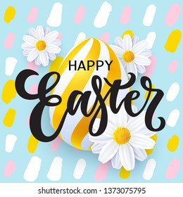 Happy Easter card with lettering, realistic Easter egg, flowers and polka dot pattern. Vector illustration, eps 10 file.