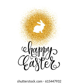 Happy Easter card on the gold glitter background. Happy Easter lettering with a rabbit silhouette. Vector illustration.