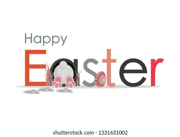 Happy Easter card on white background.