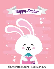 happy easter card with rabbit and egg decorated vector illustration design