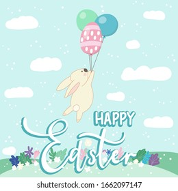 Happy Easter card with rabbit flying on balloons
