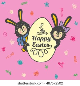 Happy Easter card with rabbits and egg. Vector illustration of Easter ornamental card with hare on pink background.