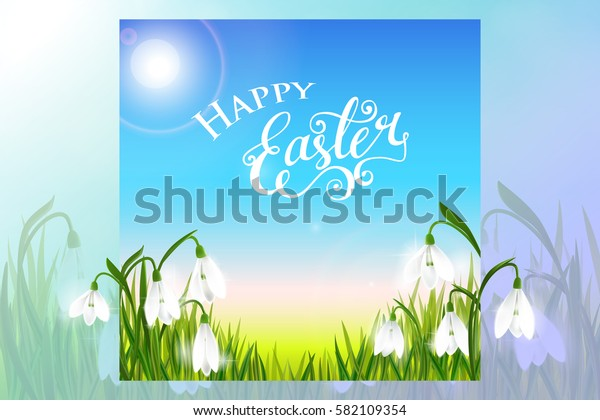 Happy Easter card with spring flowers, green grass and blue sky, lettering, calligraphy. Vector illustration EPS10.