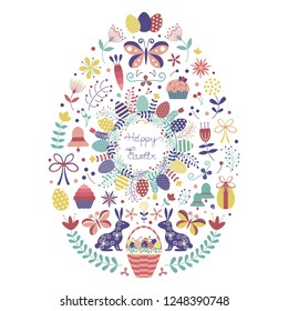 Happy Easter card template with traditional symbols and easter icons in egg shape. Spring holiday festive decorative elements for print and greeting postcards.