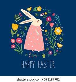 Happy easter card. Vector elegant childish pattern with cute bunny and flowers. Holiday easter illustration in cartoon style. Stylish holiday background.