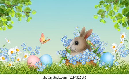 Happy Easter Card. Vector spring landscape with grass, tree branches, basket full of spring flowers, painted eggs and cute little rabbit