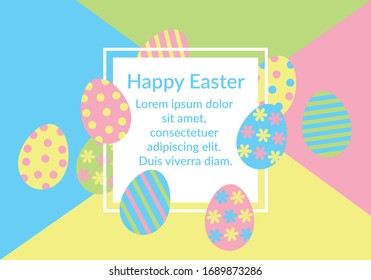 Happy Easter card vector with white square frame, colorful decorated eggs with dots stripes on colorful geometric background. For Invitation, promotion, sale, poster, flyer, banner. Copy space text