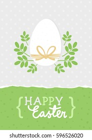 Happy Easter card with white egg and green leaf wreath and wishes in English on light dotted background