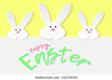 Happy easter design with wishes and white bunnies vector happy easter card with wishes and bunnies vector illustration m4hsunfo