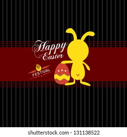 Happy Easter cards with Easter eggs and Easter rabbit