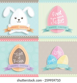 Happy Easter cards  with Easter eggs and Easter rabbit vector cartoon.