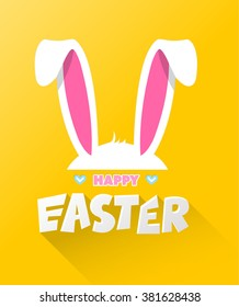 Happy easter cards illustration with easter bunny, easter rabbit and font.