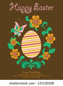 Happy easter cards illustration with easter eggs, easter bunny.vector ilistration