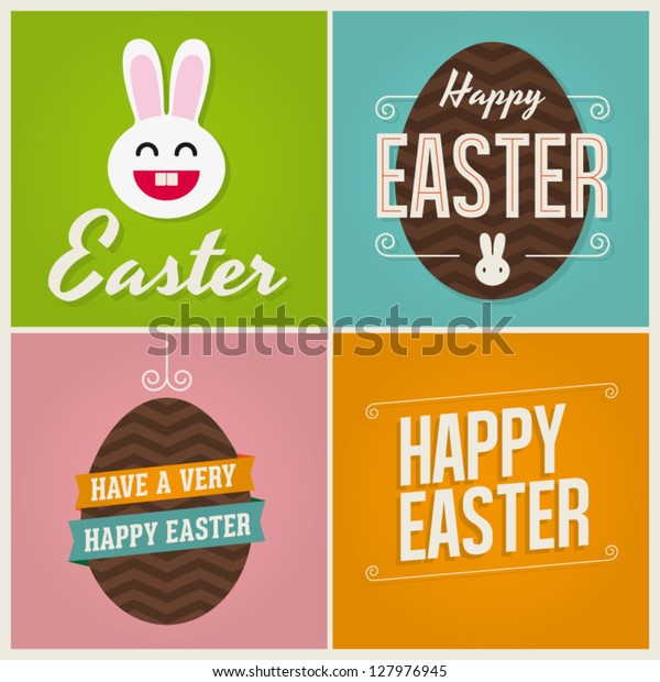 Happy easter cards illustration with easter eggs, easter bunny, easter rabbit and font.