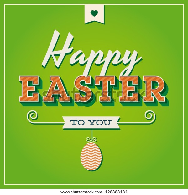 Happy easter cards illustration retro vintage with easter egg, ornaments, and fonts