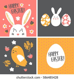 Happy Easter Cards set with funny rabbit, chick and Easter eggs, Vector Illustration.