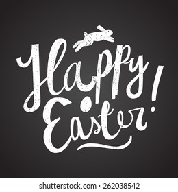 happy easter cartoon text. chalk on blackboard. easter card. vector illustration