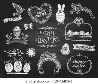 Happy Easter chalkboard set with floral frames, eggs, ribbons, rabbit and birds, hand drawn graphic illustration