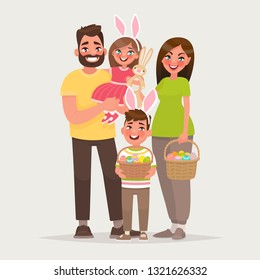 Happy easter. Cheerful family with baskets full of eggs. Dad, mom, son and daughter celebrate a religious holiday together. Vector illustration in cartoon style.