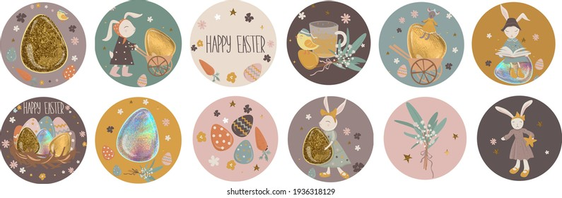 Happy easter! Collection greeting highlights. Easter bunnies with beautiful Easter eggs, chicken, carrot, Easter accessories and icons. Vector illustration.