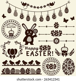 Happy Easter! Collection of silhouette elements isolated on light background. Vector set for design and page decoration.
