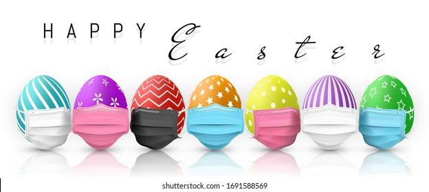 Happy Easter. Color Easter egg in medical face mask on white background. Vector illustration.