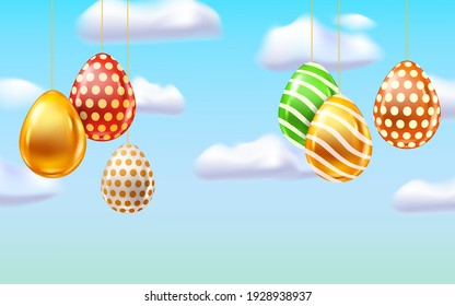 Happy Easter Colored Eggs banner template. Realistic shine decorated, painted eggs, blue sky. Spring holiday poster
