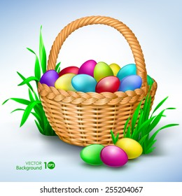 Happy easter. Colorful eggs in basket. Vector Eps 10.