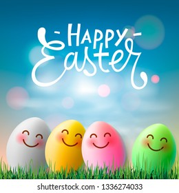 Happy Easter, colorful easter eggs with cute smiling emoji faces, vector illustration.