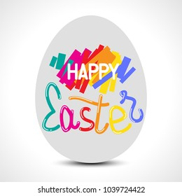 Happy Easter colorful lettering with an egg for greeting card. Vector illustration
