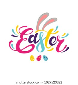 Happy Easter colorful lettering. Easter vector illustration