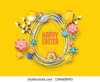 happy easter colorful spring banner rabbit yellow background summer birds eggs