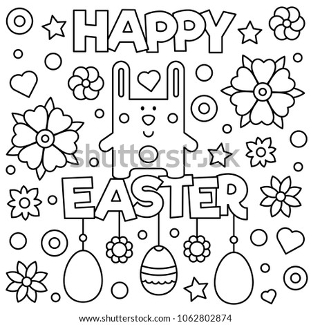 Happy Easter Coloring Page Vector Illustration Stock Vector Royalty