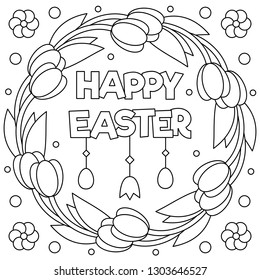 Happy Easter. Coloring page. Wreath. Vector illustration.
